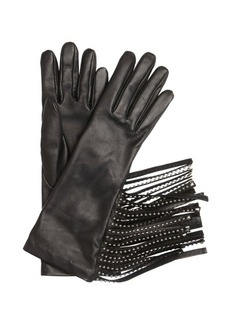 Prada black lambskin studded fringe gloves