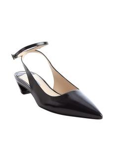 Prada black leather ankle strap kitten heels