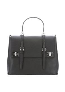 Prada black leather buckle detail convertible tote bag