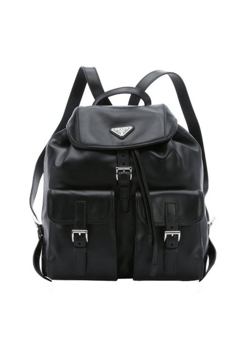 leather prada backpack