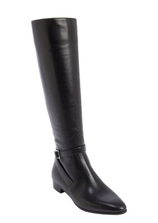 Prada black leather bucklestrap boots