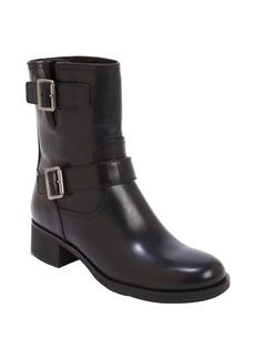 Prada black leather bucklestrap boots