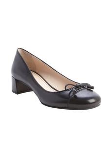 Prada black leather cap toe heel pumps