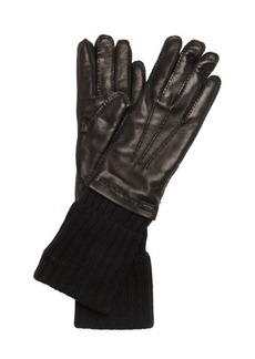 Prada black leather cashmere lined gloves