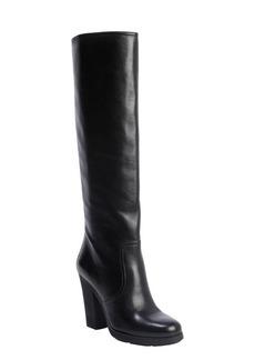 Prada black leather chunky knee boot