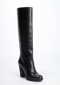 Prada black leather chunky knee boot
