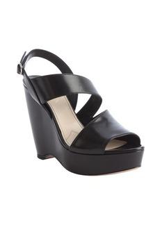 Prada black leather classic wedge sandals