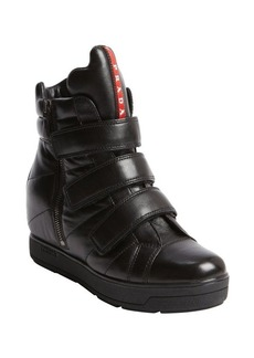 Prada black leather fastening tape side zip boots