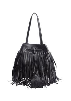 Prada black leather fringe top handle bucket bag