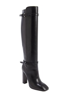 Prada black leather knee-high bucklestrap boots