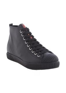Prada black leather lace up cap toe sneakers