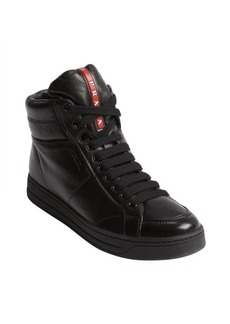 Prada black leather lace up high top sneakers
