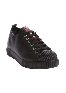 Prada black leather lace up sneakers