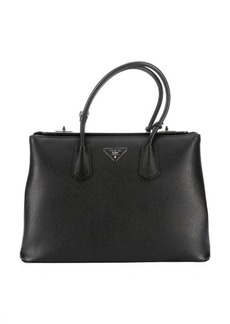 Prada black leather logo stamp top handle tote