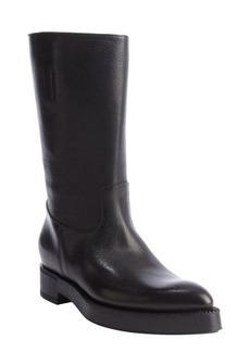 Prada black leather mid-boots