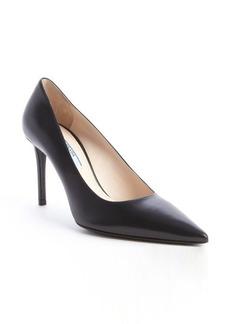 Prada black leather pointed toe pumps