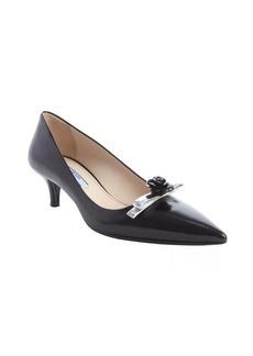 Prada black leather pointed toe 'Spaz Bic' rose detail pumps