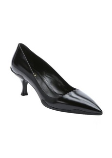 Prada black leather pompadour heel pumps