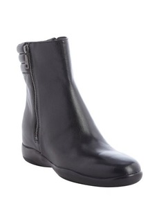 Prada black leather side zip boots