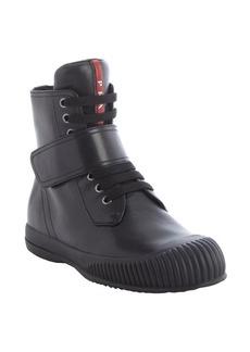 Prada black leather side zip fastening tape strap high top sneakers