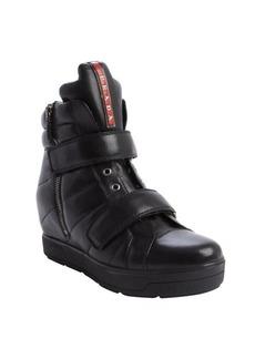 Prada black leather side zip wedge heel sneakers
