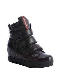 Prada black leather side zip wedge high top sneakers