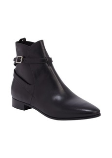 Prada black leather silver buckle ankle boots