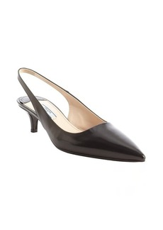 Prada black leather sling back kitten heels