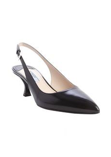 Prada black leather sling back pointed toe kitten pumps