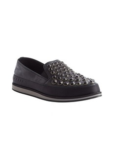 Prada black leather studded detail loafers