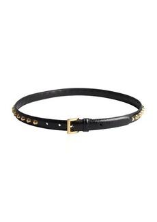 Prada black leather studded skinny belt
