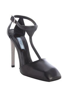 Prada black leather t-strap square toe pumps