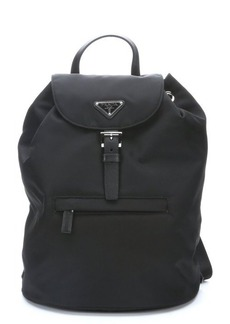 Prada black leather trimmed nylon mini backpack