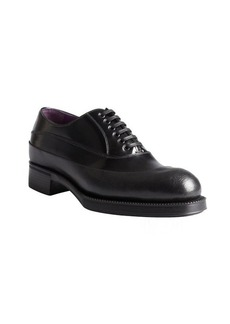 Prada black leather two-tone lace-up oxfords