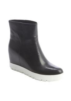 Prada black leather wedge heel ankle boots