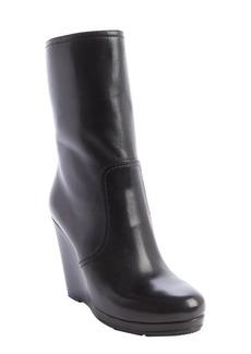 Prada black leather wedge heel midi boot