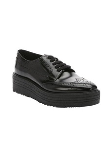 Prada black leather wingtip oxford platform creepers