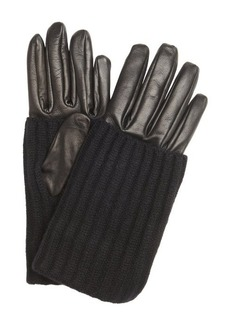 Prada black leather wool trimmed gloves