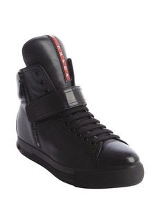 Prada black leather zip detail velcro strap high top sneakers