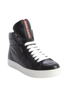 Prada black leather zipper detail high top sneakers