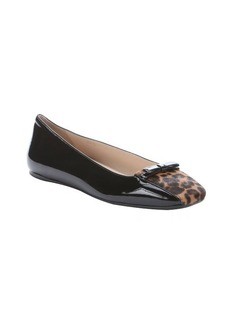 Prada black patent leather and leopard calf hair ballet flats