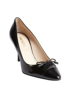 Prada black patent leather bow point toe pumps