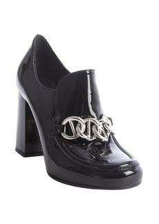Prada black patent leather chain link oxford pumps