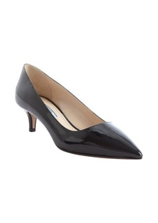 Prada black patent leather kitten heel pumps