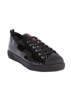 Prada black patent leather lace up sneakers