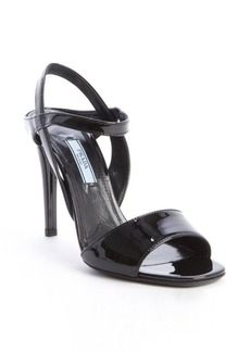 Prada black patent leather slingback heel sandals