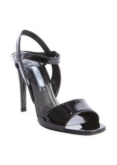 Prada black patent leather slingback heel sandals