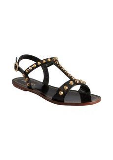 Prada black patent leather studded 'Wheel' sandals