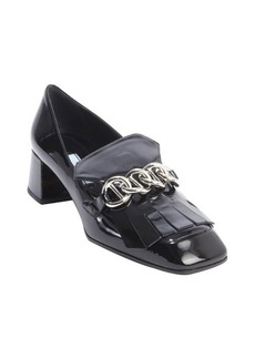 Prada black patent leather tassel and chain detail heel loafers