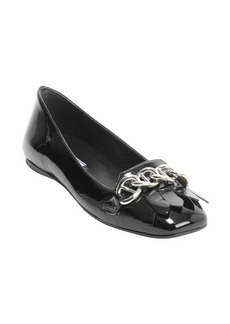 Prada black patent leather tassel and chain detail loafers